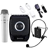 Winbridge S92 25 Watts Mini Portable Rechargeable Voice Amplifier Pa System Speaker with Two Microphones UHF Compact Handheld and Wireless Headset Mic for Karaoke, Teachers, Tour Guides, Trainers