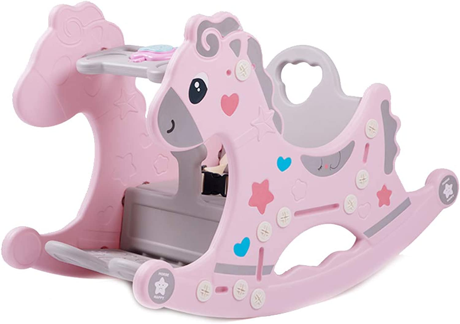Kids Multi-Function Rocking Chair, Built-in Music Seconds Change Dining Chair Toy Rocking Horse 430 (color   Pink)