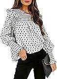 Blusa de gasa para mujer, verano, primavera, cuello redondo, manga larga, camisa de lunares