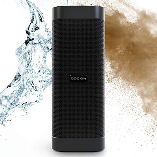 DOCKIN® D Mate Portable Bluetooth Lautsprecher, 25 Watt Outdoor Speaker mit starkem Akku (16 Std), wasserdicht, tragbare/portabel/Wireless Stereo Soundbox, integrierte Powerbank, USB-Anschluss