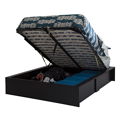 "South Shore 60"" Step One Ottoman Storage Bed, Queen, Pure Black"
