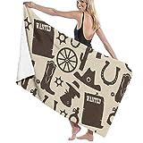 N/A Old West Cowboy Clipart Erwachsenen-Mikrofaser-Strandtuch, groß, 79 x 130 cm, schnelltrocknend, umweltfreundlich, vielseitig einsetzbar, Pareo für Damen und Herren