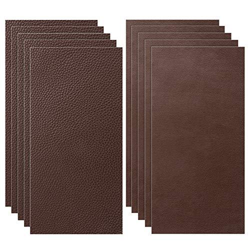Siyaqi Kit de Parche de Piel, 10 Unidades Pegatina de reparación de Parches de 20 cm x 10 cm, despegar y Pegar para Asiento de Coche, Muebles, Chaqueta, sofá, Mochila (marrón)