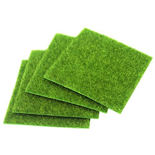 FineInno 4 Blätter Kunstrasen Rasenteppich Artificial Grass Rollrasen Synthetic Lawn Turf Carpet Moos Rasen Garten Landschaftsbau Bonsai Harz Dekoration 6x6inch (15x15cm) (6inch/15cm,4 Blätter)