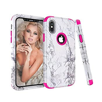 iPhone X Case Ankoe White Marble Stone Pattern Shockproof Full Body Protective Cover Dual-Layer Slim Soft Flexible Silicone and Hard PC for Apple iPhone X  Rose