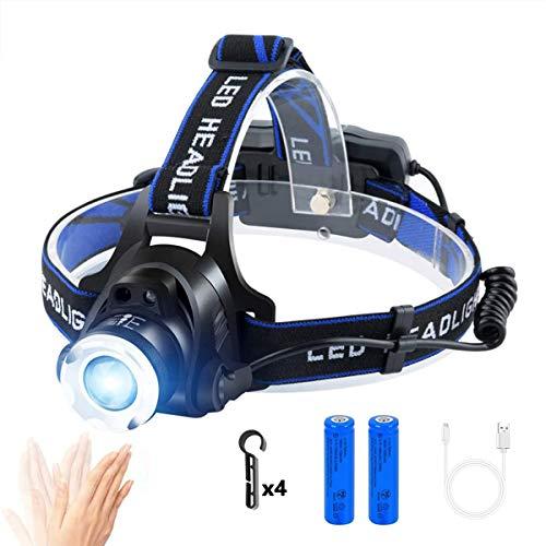 ヘッドライト LED ヘッドランプusb充電式 IP65防水 高輝度CREE T6 人感センサー電池残量指示ランプ 角度調節可能 ズーム機能 登山 防災 夜釣り キャンプ 作業用 ヘルメット ライト
