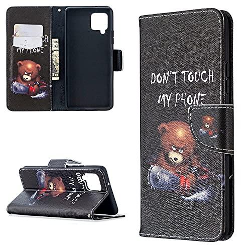 CoverKingz Handyhülle für Samsung Galaxy A42 5G - Handytasche mit Kartenfach Galaxy A42 5G Cover - Handy Hülle klappbar Motiv Don´t Touch My Phone Bär
