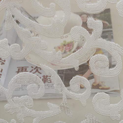 Estilo europeo diseño jacquard decoración del hogar cortinas modernas telas de tul organza panel transparente tratamiento de ventanas blanco-blanco, W52inL84in 132x213cm, 4 tiras de cinta plisada