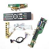 Para LP154WX4-TLB5/TLC1 T.V53 tarjeta de unidad panel LCD monitor HDMI VGA USB AV RF LVDS 1CCFL 30Pin teclado+Remote+Inversor Kit (LP154WX4-TLC1)