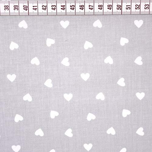 Pingianer 11,99€/m Herz Herzen 100% Baumwolle Baumwollstoff Kinder Meterware Handwerken Nähen Stoff (Herz Grau weiß klein, 100x160cm (11,99€/m))