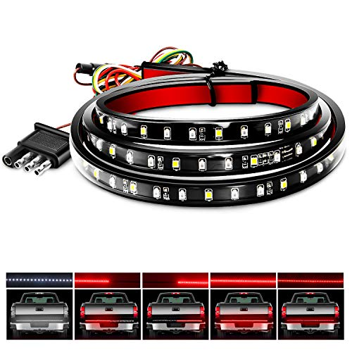"Nilight - TR-11 48""/49"" LED Tailgate Light Strip 90 LED Red/White for Running Light Brake Light Turn Signal Lights Reverse Light,2 Years Warranty, 48""/49"" Truck Tailgate Light Bar"