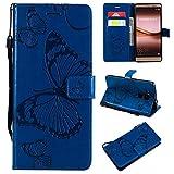 Étui portefeuille en cuir synthétique avec support et dragonne pour Huawei Mate 8 Bleu