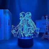 Anime Sword Art Online Figura 3D Luz de noche Led para decoración de dormitorio Luz de noche Regalo de cumpleaños Lámpara de mesa para habitación Manga SAO