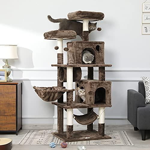 MSmask Kratzbaum groß, 164cm Katzenbaum für Gross Katzen, große Bodenplatte, kratzbaum Grosse Katzen stabil mit Sisal-Kratzstangen Höhlen, Hängematte, Plüschball (Braun)