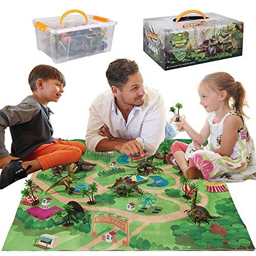 Dinosaurier-Spielzeug,Figur mit Aktivität Spielmatten & Bäume, pädagogisch Realistisches Dinosaurier-Spielset,Einschließlich T-Rex,Triceratops,Velociraptor Jungen und Mädchen