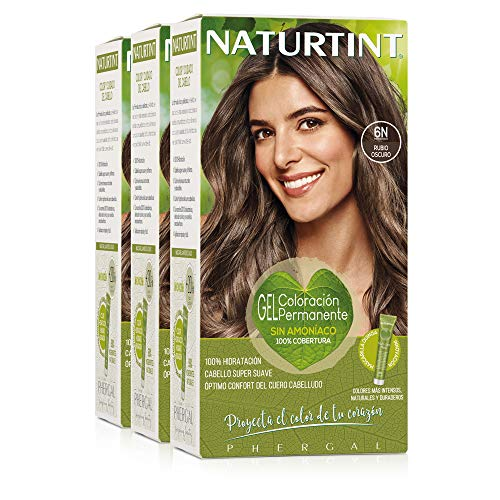 Naturtint Coloración Sin Amoniaco. 100% Cobertura de Canas. Ingredientes y Aceites Vegetales. Color Natural. 6N Rubio Oscuro. Pack de 3.