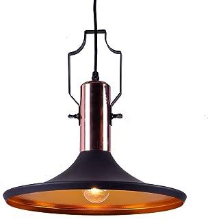 MSTAR Industrial Black Pendant Light, Kitchen Bar Lighting Fixture, Restaurant Pendant Light Shade with Antique Copper Deco