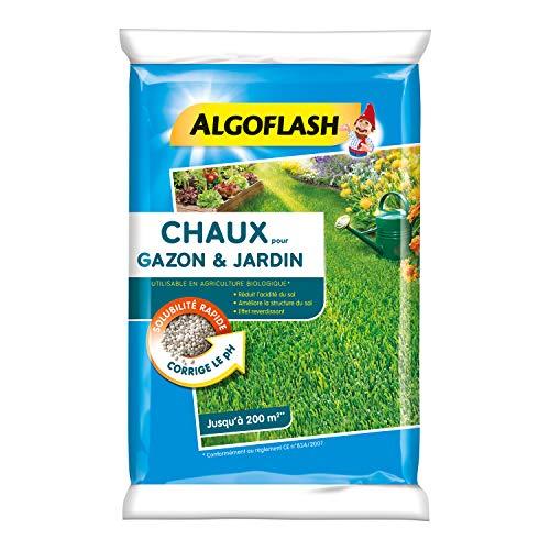 ALGOFLASH Chaux pour Gazon et Jardin, Réduit lacidité et améliore la structure, Jusquà 200 m², 10 kg, ACHAU10