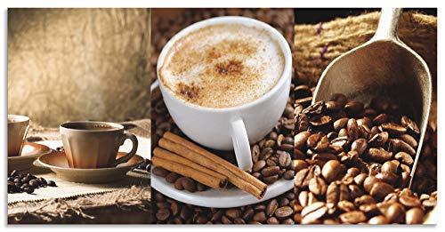 Artland Spritzschutz Küche aus Alu für Herd Spüle 100x50 cm Küchenrückwand mit Motiv Kaffee Coffee Cafe Kaffeebohnen Bistro Cappuccino Dunkel J6QU