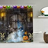 DAHALLAR Duschvorhang,Halloween Kürbis Laterne Horror Skelett Walk Out Grab,personalisierte Deko Badezimmer Vorhang,mit Haken,180 * 180