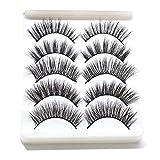 5 pairs different style False Eyelashes, 3D Mink Fur Fake Eyelashes 100% Siberian Mink Fur Hand-made False Lashes (A55)