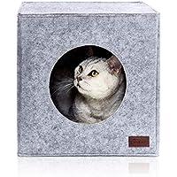PiuPet® Cama de Gato Incl. cojín, Casa de Gato Adecuada para IKEA® Kallax & Expedit   Cueva Comoda en Gris, óptica de Fieltro, Diseño Elegante y Moderno