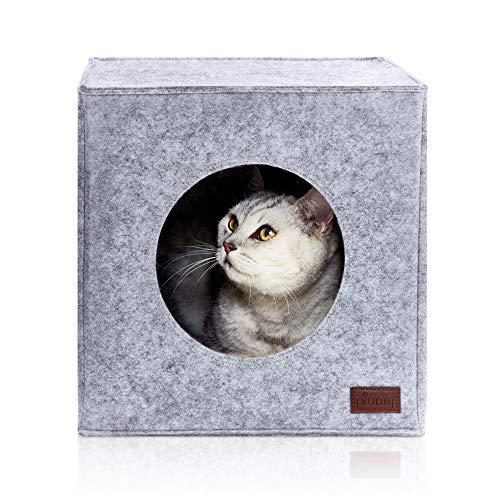 PiuPet® Katzenhöhle inkl. Kissen, Passend für z.B. IKEA® Kallax & Expedit Regal, Kuschelhöhle in grau