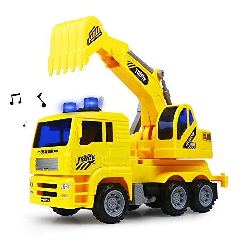 Excavador Cavador Juguetes de Ingenieria Construcción Vehículos Modelos de Autos Camiones con Luces y Musica para Niños Niñas 3 4 5