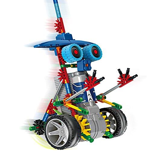 robotica edificio definisce giocattoli di scienza per bambini, Assembly Building Blocks Mattoni Kit fai da te robot giocattolo, motore a pile, puzzle 3D design Alien Robot Primate Figura (blu)