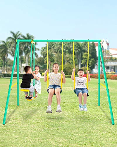 MaxKare Metal Swing Set Outdoor Backyard Playground Swing Set 2 Seats with A Swing Glider for 3-12 Year Old Kids, Toddlers, Max Weight 400 LBS