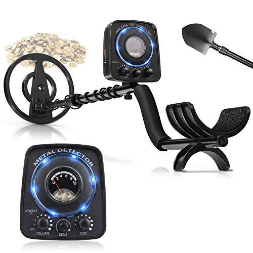 amzdeal Metalldetektor Wasserdichter Metallsuchgerät mit Hohe Empfindlichkeit incl. Suchspule + Multifunktionsklappschaufel + Kopfhörer-Unterstützung