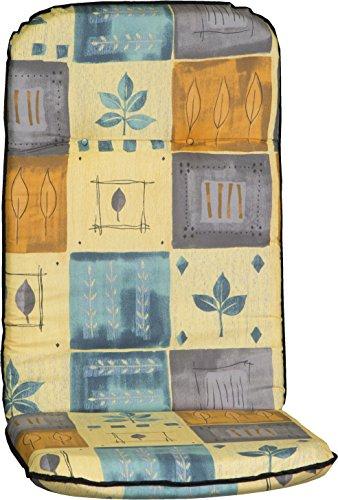Beo Auflage für Hochlehner Gartenmöbel Polsterauflage Patchwork Blätter blau beige