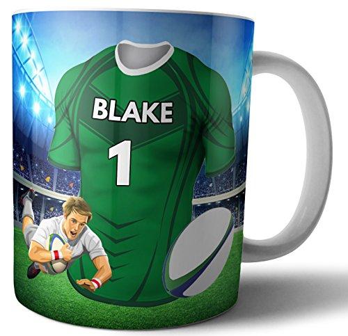 Personalisierbares Geschenk – Teetasse – Rugby-Shirt – Connacht Farben