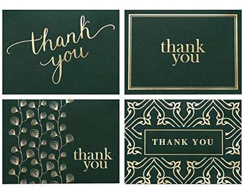 103 Thank You Cards Bulk - Thank You Notes- Blank Note Cards with Envelopes - Perfect Business, Wedding Card, Bridal and Baby Shower Card - 4x6 Photo Size (Hunter Green)