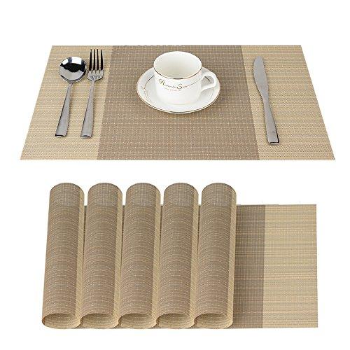 Fontic Platzdeckchen Rutschfest Abwaschbar Tischmatten PVC Abgrifffeste Hitzebeständig Tischsets, Platz-Matten für küche, 6er Set Platzsets 30x45cm