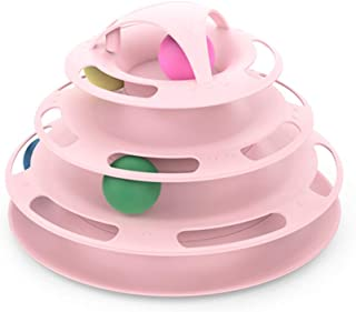 Söt New Creative Four-Layer Pussel Play Track Swivel Tower Cat Ball Pet Interactive Toy