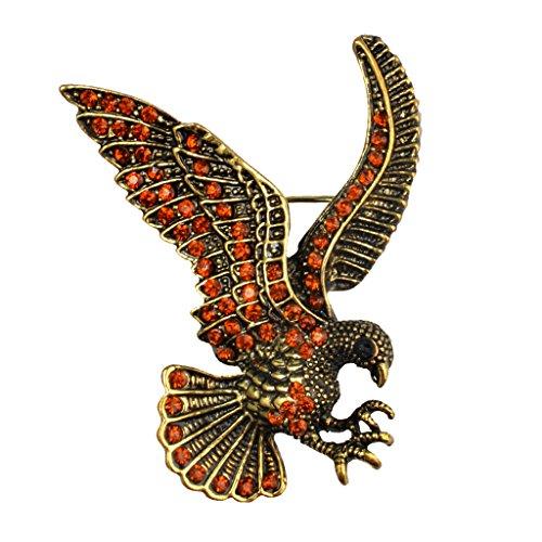 MagiDeal Animal Broche Pin Vintage águila de Cristal Accesorios de Ropa Joyería de Manera - Bronce Antiguo