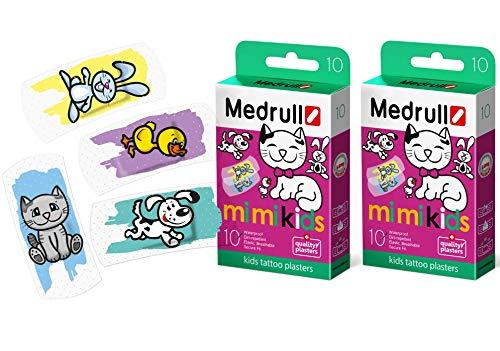 Medrull Transparent Kinder Pflaster Tattoo 2 x10 Stück Baby MIMI Kids 20 Strips