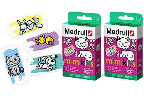 Medrull Transparent Kinder Pflaster Tattoo 2 x10 Stück Baby MIMI Kids 20 Strips