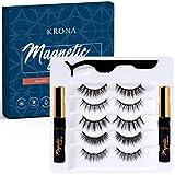 KRONA Magnetic Eyelashes With Eyeliner Kit - 2 Tubes Of Magnetic Eyeliner & 5 Pairs Of Reusable Falsies - Natural-Long-Full & Dramatic Looking Eyelashes Set - Comes With Applicator - No Glue Needed