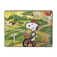 スヌーピーは自転車に乗っています カーペット オールシーズン 肌触りが柔らかい ふわふわ 滑り止め付 おしゃれ かわいい ラグマット 120x160x1.2cm