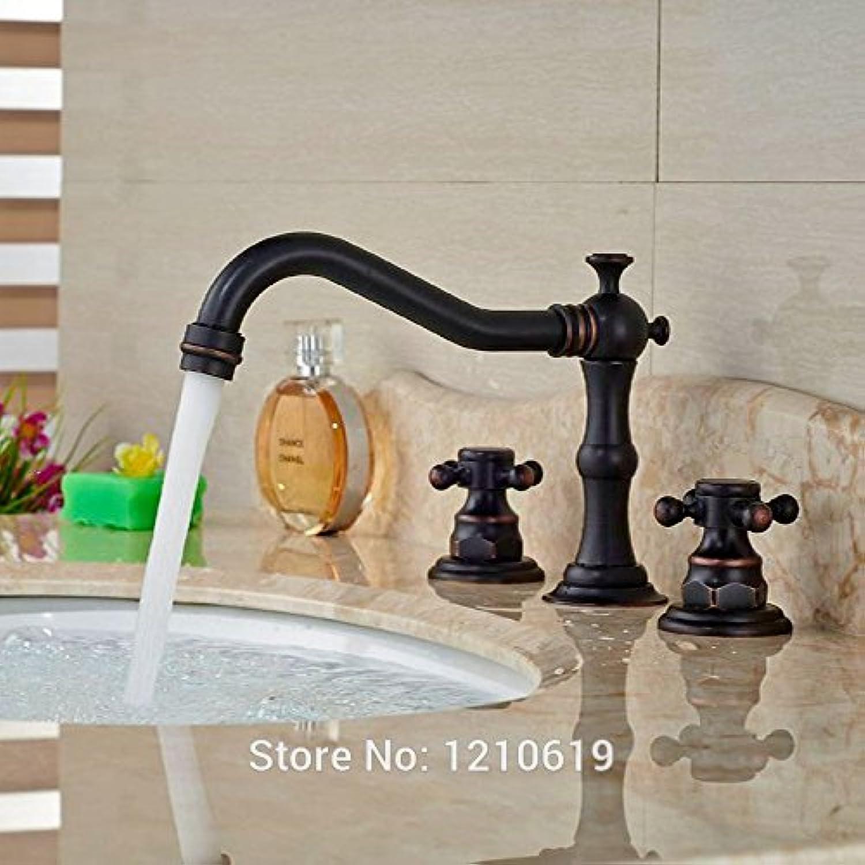 Retro Deluxe Fauceting neue Ankunft l eingerieben Bronze Waschbecken Wasserhahn Mischbatterie Deck montiert 3 pcs Waschbecken Wasserhahn Dual Griffe