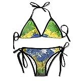 Pintura al óleo Brasil Bandera Mujeres Sexy Bikini Set Traje de baño de Playa Traje de baño Ajustable 2 Piezas
