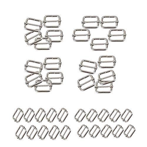A gesp van metaal verstelbaar, vierkante ringgespen, 40 stuks 25 mm 38 mm gesp van metaal, voor doe-het-zelf rugzak, kledingaccessoires en accessoires, riem (zilver)