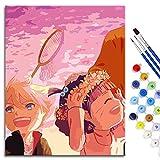 BOVIENCHE Kit de Peinture à l'huile Bricolage par numéro, Peinture Paintworks Naruto édition théâtrale: Bo Ren Biographie Imprimé Toile Art Décoration de La Maison 50x40cm sans Cadre