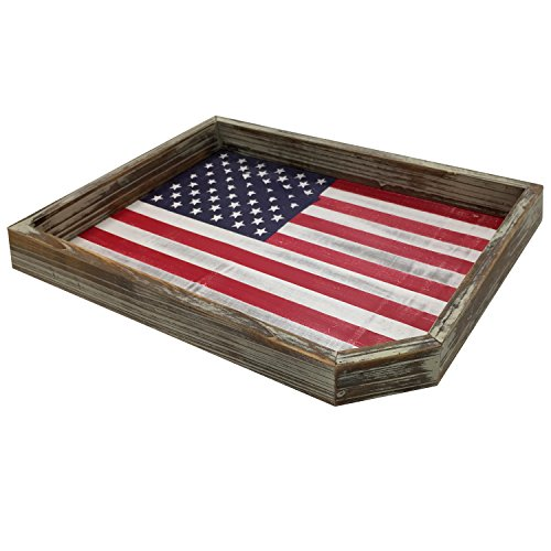 Serving Tray Vintage Whitewashed Wood American Flag Rustic Wooden USA Decorative Display Holder