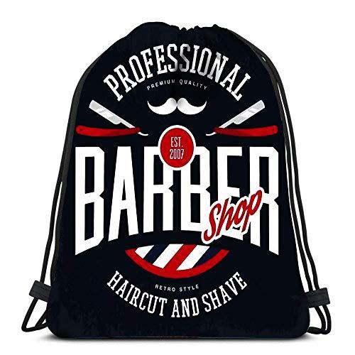 Arvolas Kordelzug Taschen Rucksack Friseur Shop Zeichen Mit Rasiermesser Und Schnurrbart Vintage Logo Haarschnitt Rasieren Bart Reiserucksäcke