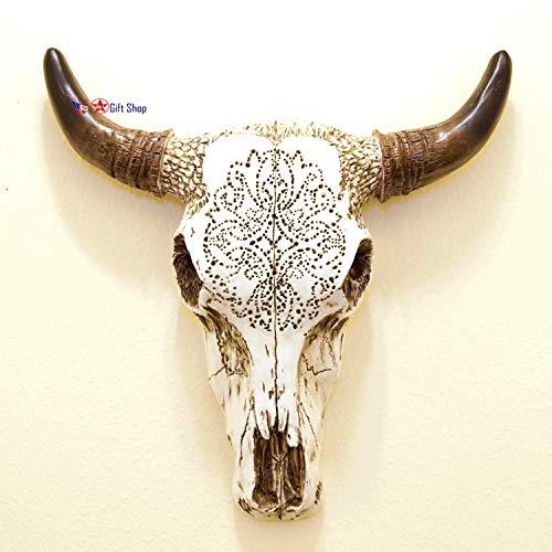 BestGiftEver Resin Wall Sculptures Tooled Bull Skull