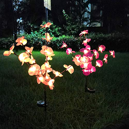 RockyMars 2-Pack Outdoor Solar Garden Lights, 1pc Purple Orchid + 1pc Pink Orchid