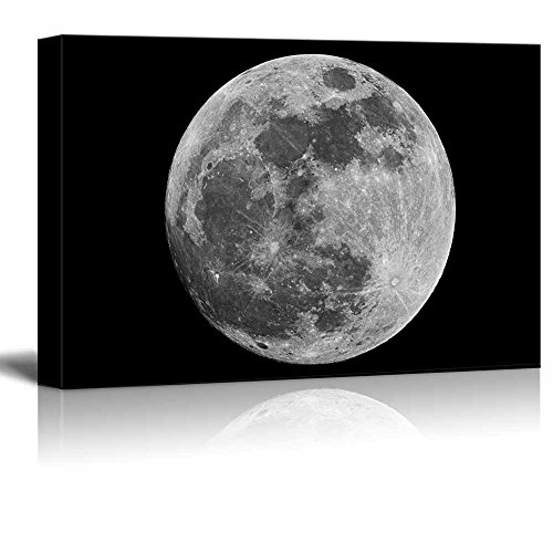 Canvas Prints Wall Art - Full Moon Against Black Universe Space | Modern...